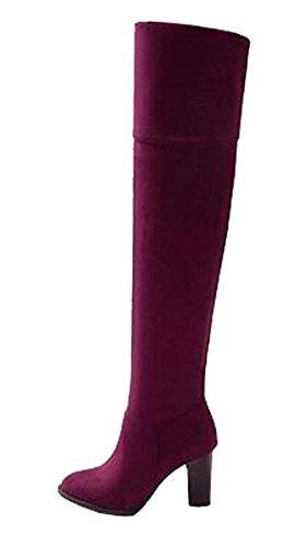 Stretch Samt Overknee-Stiefel Stiefel Damen Stiefel große Yards Rot