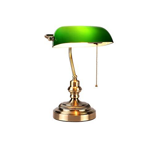 QEQ Traditional Style Bankers Schreibtisch Beleuchtung, Antik Messing Tischlampe, Antik-Stil Smaragd Grün Glas Schreibtisch Leuchte, Satin Messing Finish, Metall Perlen Pull Cord Switch Attached - Leuchte-messing-finish