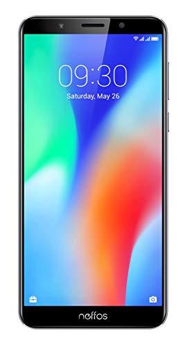 TP-Link Neffos C9 Selfie-Smartphone ohne Vertrag, 5,99 Zoll HD+ Display (15,21 cm), 16GB, Dual SIM + microSD Kartenslot, Fingerabdruck, Gesichtserkennung, 13MP, Android 8.1 (NFUI), cloudy grey