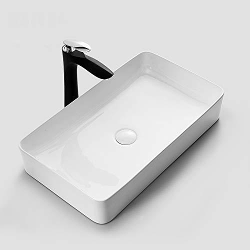 VBChome Waschbecken Keramik Slim 60cm Rechteckig Waschtisch Handwaschbecken Design Aufsatz-Waschschale FÜR BADEZIMMER GÄSTE WC