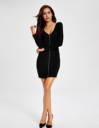 Modetrend Femmes Manches Longues Robe Solide Cavalier Tricoté Crayon Casual Jupe Fermeture éclair Tunique Pull Robes - Réversible Style Noir