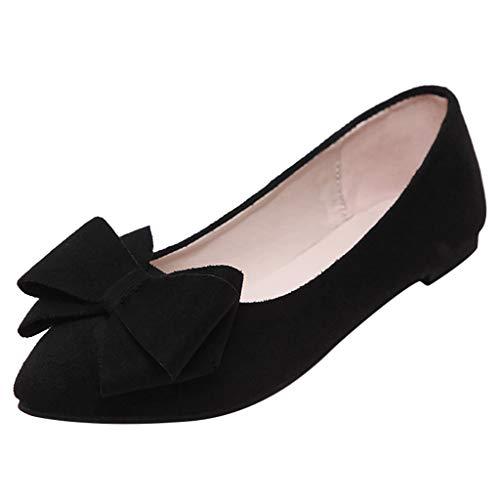 COZOCO Damen Low-top Bowknot-Schuhe Slip-on Stiefeletten Aus Wildleder Elegante, Kurze Stiefel Mit Quadratischem Absatz(Schwarz,40 EU)