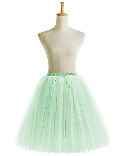 Bridesmay Damenrock Vintage Tuturock Tüllrock Petticoat Unterkleid Retro Partykleid Mint