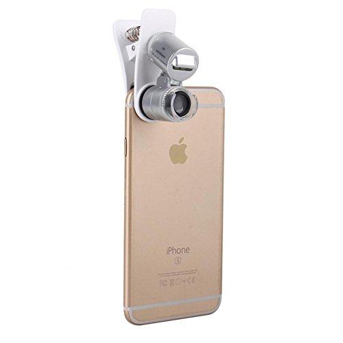 60x Lupe Handy Objektiv Kamera LED Mikroskop Lupe mit Clip für iPhone