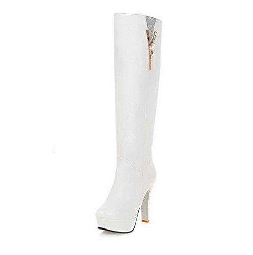 AllhqFashion Damen Ziehen auf Rund Zehe Hoher Absatz Hoch-Spitze Stiefel, Weiß, 38