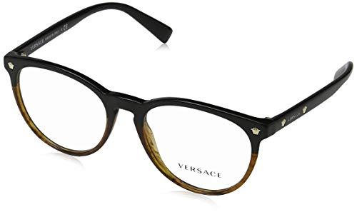 Versace Unisex-Erwachsene Brillengestelle 0VE3257, Schwarz (Black/Havana), 53