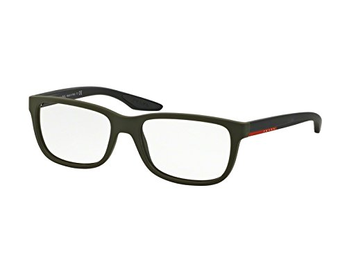 Prada Linea Rossa Für Mann 02g Green Rubber Kunststoffgestell Brillen, 56mm Prada Brillengestelle Männer