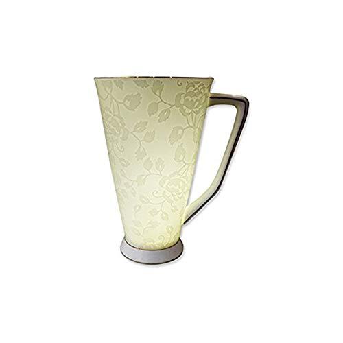 ufengke® 500ml Tasse À Café De Porcelaine D'os Élégante De Grande Capacité Européenne Tasse De Thé De Fleur Imprimée Blanche