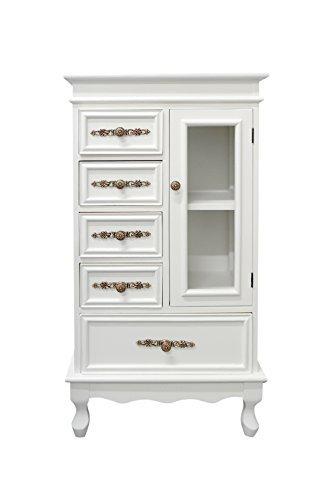 Rebecca mobili re4023 vetrinetta mobile 5 cassetti con 1 sportello, legno, bianco, 97 x 51 x 30 cm
