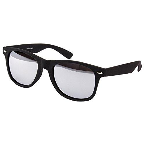 Ciffre Sonnenbrille Nerdbrille Nerd Retro Look Brille Pilotenbrille Vintage Look - ca. 80 verschiedene Modelle Schwarz Matt Verspiegelt