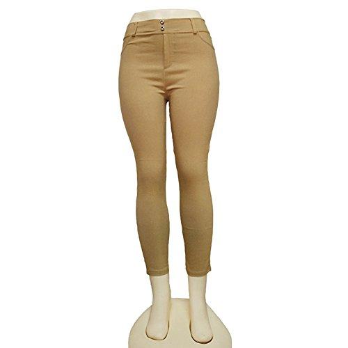 Fletion Femmes Leggings Hanche Pantalon tissé Exercice Leggings Europe et États-Unis Élasticité Pantalons pantalons Khaki