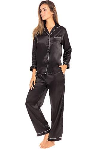 Alexander Del Rossa Damen Pyjama-Set mit Schlafmaske, Satin, Lange einfarbig, seidige Pyjama - Schwarz - X-Large/ 12-16 US