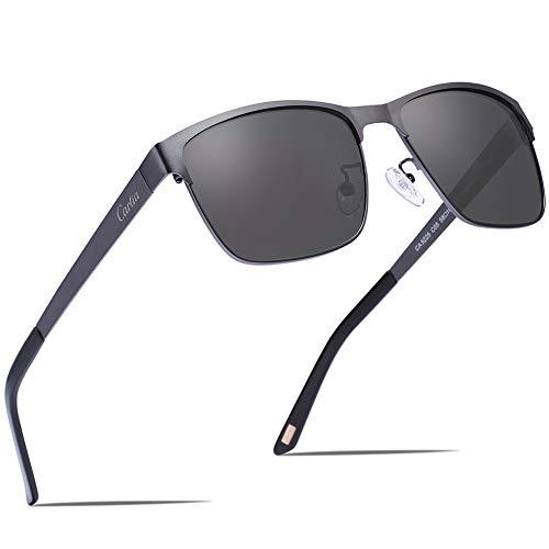 Carfia Polarisierte Herren Sonnenbrille Metallrahmen UV 400 Fahrerbrille Sportbrille Kategorie 3 - Polarisierte Sonnenbrille