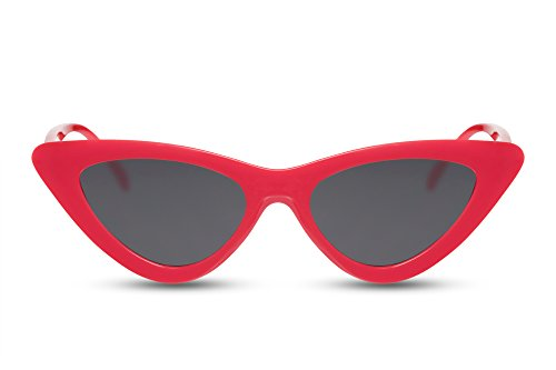 Cheapass Cat-Eye Sonnenbrille Rot Schwarz-e Gläser Designer-Brille 100% UV-400 Damen Frauen