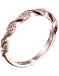 Crystal Twisted Band Solid 14K Gold Wedding Anniversary Ring For Women Fine Jewelry - Size 10 (Rose Gold)