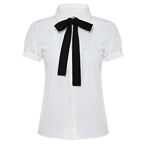 Q&Y Lady Bowknot Doll Collar Short Sleeve OL Chiffon Button Down Shirts Top Blouse S (Work Shirt Jeans-short Sleeve)
