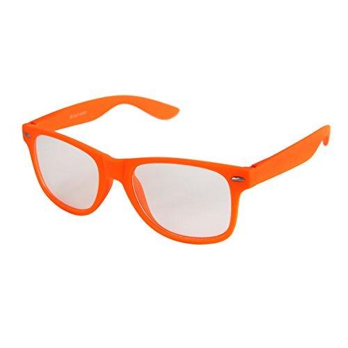 Hochwertige Nerd Sonnenbrille mit Klarglas matte Rubber Retro Vintage Unisex Brille mit Federscharnier - 17 verschiedene Farben/Modelle wählbar (Farben Brille Nerd)