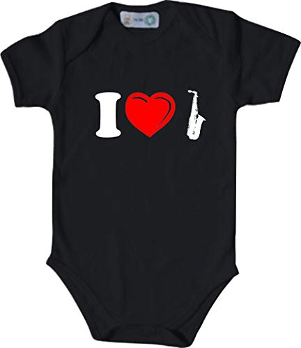 Unbekannt Lustiger Baby Body mit Druck/I Love Saxophone/Farbe: Schwarz/Größe: 62-68 (3-6 Monate)