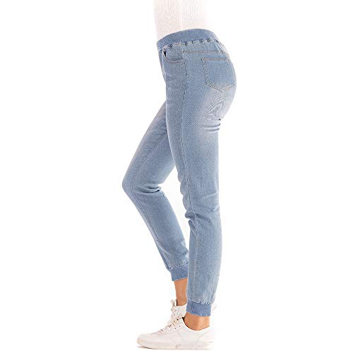NPRADLA 2019 Damen Basic Hose Herbst Elastic Plus Loose Denim Skinny Pencil Hose Pockets Woman Casual Cropped Jeans Womens Trail Cropped Pant