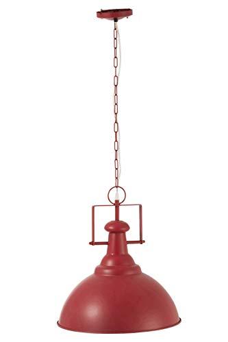 LAMPE à SUSPENDRE ROND METAL loft industriel ROUGE/BLANC (38x38x42cm) JOLIPA JLINE 92278