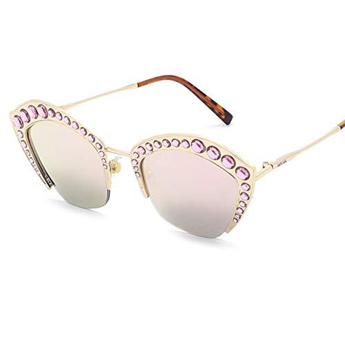 Z&HA Womens Crystal verschönert Sonnenbrille Glittered Metal Frame Fashion Eyewear UV400,04