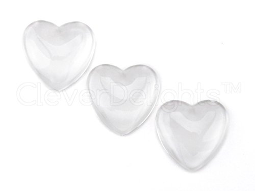 20 CleverDelights Heart Glass Cabochons - 1 inch - 25mm - Clear Dome Magnifying Cabs - 1
