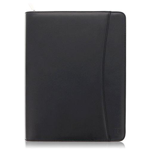 """A4 Schreibmappe mit rundum Reißverschluss – Schwarz Nappa-ähnliches PU Leder Padfolio mit 10.5"""" Tablethülle, inkl. A4-Schreibblock und Geschenkbox von Lautus Designs"""