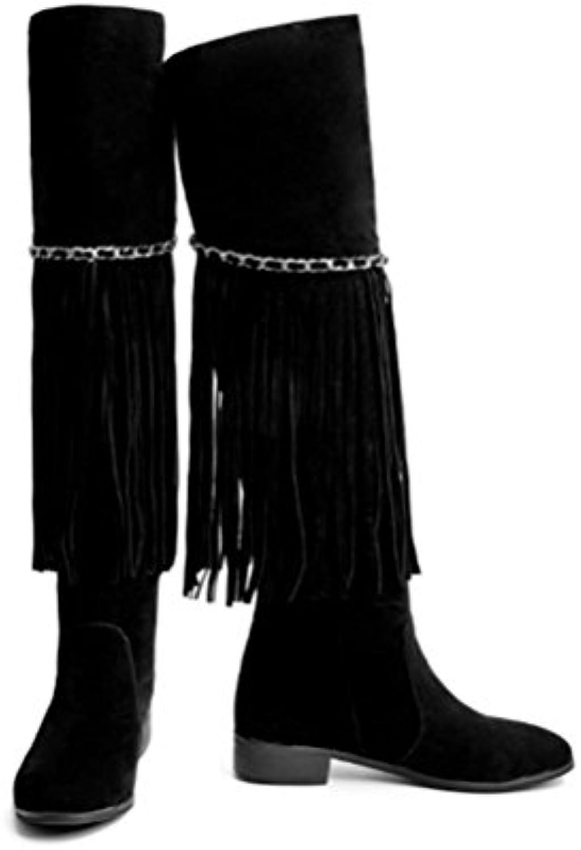 XUEXZIX Ms Flat with Over The Knee Stivali Nappa Side Zipper Large Dimensione Scarpe da Donna Decorazione Catena in... | marche  | Sig/Sig Ra Scarpa