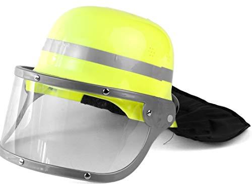 Nick and Ben Feuerwehrmann Feuerwehrfrau Set | Kostüm + Helm | 3-teilige Verkleidung für Karneval | Helm Oberteil Hose | schwarz gelb |: Größe: M(140)