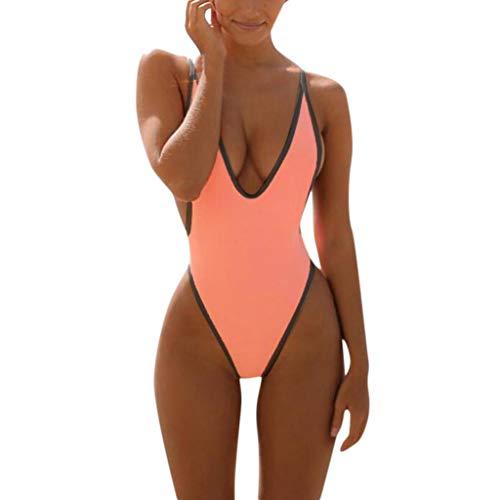 Bfmyxgs Sexy One Piece Frauen Stilvolle Monokini Badeanzug Mode V-Ausschnitt Tanga Bikini Charmante Badebekleidung Baden Beachwear Monokini Bademode Sets Badeanzug Beachwear Tankini Sets -