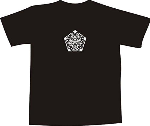 T-Shirt E1140 Schönes T-Shirt mit farbigem Brustaufdruck - Logo / Grafik / Design - abstraktes Ornament mit schönen Ranken und Blättern Schwarz