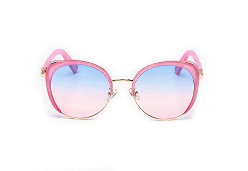WSKPE Sonnenbrille,Die Übergroßen Cat Eye Sonnenbrille Weiblichen Gradient Gläser Glitter Punk Metall Sonnenbrille Uv400 Rosa Rahmen,Blaue Linse