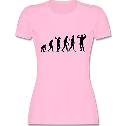 Evolution - Bodybuilder Evolution - tailliertes Premium T-Shirt mit Rundhalsausschnitt für Damen Rosa