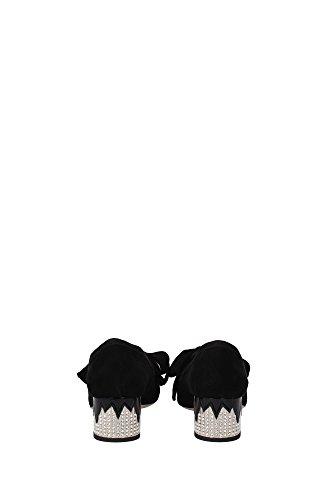 51458ANERO Miu Miu Talon Femme Chamois Noir Noir