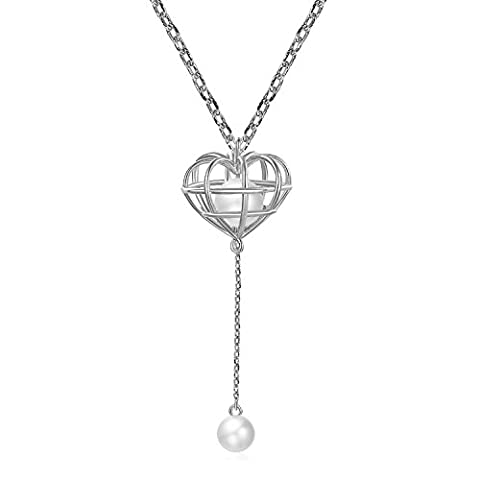 Fancilla 3D Fashion Costume Jewellery Silver Tone Heart Pendant Necklace with Simulated Pearls Decorated, 18'' (White Gold