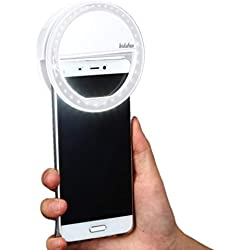 bidafun Selfie Light Compatible Selfie Light,Selfie Ring Light 36 LED Spotlight Flash Selfie Anneau Lumière Caméra Vidéo Vidéo Lumière Lampe Cellulaire-Blanc