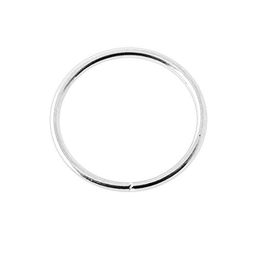 14k oro bianco 20 Gauge - 8MM di diametro cerchio aperto continuo senza cuciture naso anello Piercing da naso