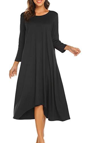 Teaio Damen Nachtkkleid Lang Baumwolle Nachtkleid Langarm für Schwangere Nachtwäsche Unregelmäßig Saum Vorne Kurz Hinten Lang Locker Sleepwear Hauskleid Blau Schwarz Grau