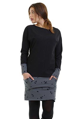 3Elfen Langarmkleid Damen Winterkleid Frauen Minikleid Pullover Baumwolle Skaterkleid schwarz grau Vogel XL Pulloverkleid