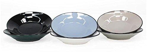 François Segarra – Set de 6 Assiettes Plates grandes de céramique couleurs assorties (Gris, Vert, Blanc, Noir, Marron, Bleu)