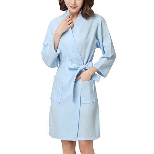 HUANGFAKS Unisex Kimono Nachthemd Waffel Baumwoll Bademantel Geeignet für Damen und Herren Bademäntel Leichte Pyjamas L-XL (Color : Light Blue, Size : L)