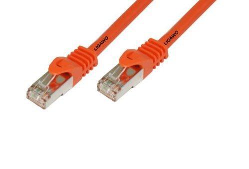 Ligawo Patchkabel Cat.7 S-FTP PiMF RJ45 Cat6A Stecker für Netzwerk/Internet Anschluss (1m) - orange