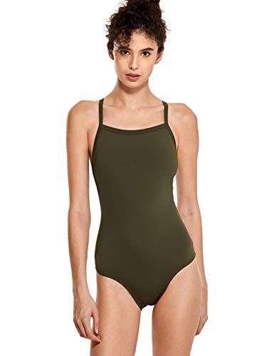 SYROKAN Damen Sports One Piece Badeanzug Trainings Profi Einteiler Bademode Dunkle Olive 32 inch