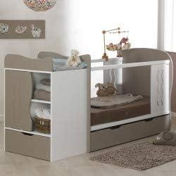 Alfred & Compagnie Lit bébé évolutif avec tiroir blanc/lin 70x140
