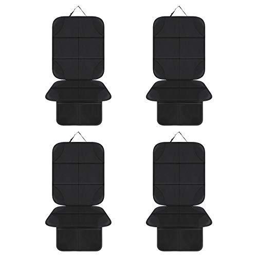 AOAFUN 4 Pack Protezione Sedile Auto Bambini,Coprisedile Bambini,per Proteggere la Tappezzeria in Pelle del Veicolo,Adatto per Isofix - Antiscivolo, Facile da Pulire e Fissare(neri)