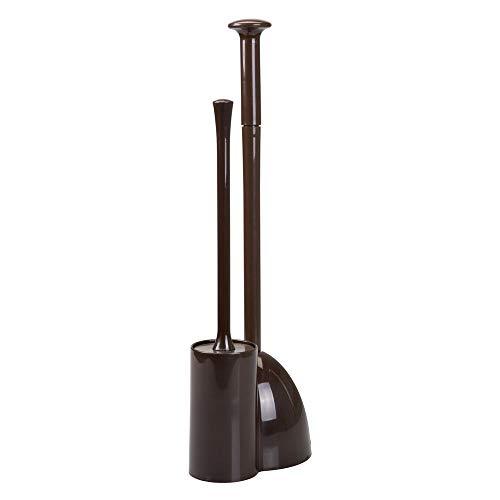 mDesign kompakte Badgarnitur aus Kunststoff und Gummi - WC Bürstenhalter und Pömpel im einheitlichen Design - platzsparendes Zubehör für Badezimmer oder Gäste WC - Dunkelbraun - Kunststoff-shampoo Bürste
