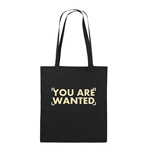Comedy Bags - YOU ARE WANTED - LOGO - Jutebeutel - lange Henkel - 38x42cm - Farbe: Schwarz / Pink Schwarz / Beige
