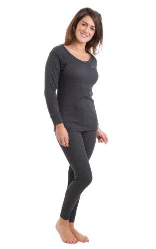 2COZEE - Ensemble Sous Vêtement Thermique Femme/Fille Manches Longues et Long Caleçon Différentes Tailles et Couleurs Anthracite