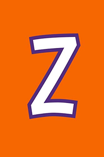 Z: Monogram Journal Composition Notebook or Diary. Orange with White/Purple Alphabet Letter - 6