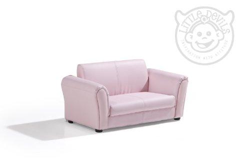 Pink Pu Leather Lazybones Kids Twin Sofa Chair Seat